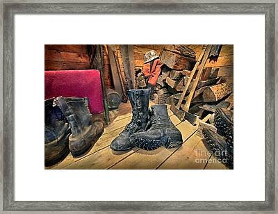 These Boots Are Made For Logging Framed Print by Martin Konopacki