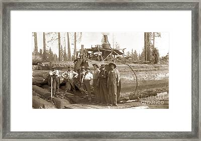 lumberjacks next to Redwood longs with a Steam Donkey Framed Print by California Views Mr Pat Hathaway Archives