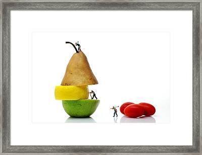 Lumberjacks Working On Fruits Framed Print by Paul Ge
