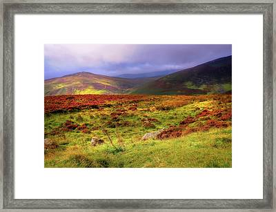 Luminescent Light Over Wicklow Hills Framed Print by Jenny Rainbow