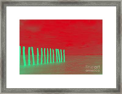 Luminous Beach Red Framed Print by  Fotoping