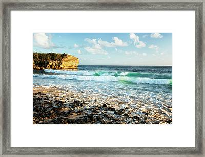 Luminous Beauty Of The Pacific Ocean At Shipwreck Beach. Framed Print by Larry Geddis