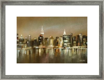 Luminous New York Skyline  Framed Print