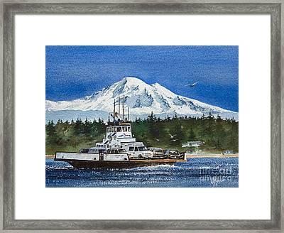 Lummi Island Ferry And Mt Baker Framed Print by James Williamson