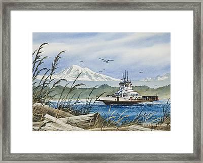 Lummi Island Ferry Framed Print by James Williamson
