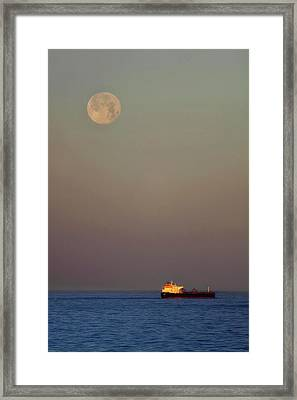 Framed Print featuring the photograph Luna And The Ship - Ocean - Cargo Ship - Seascape by Jason Politte