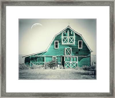 Luna Barn Teal Framed Print