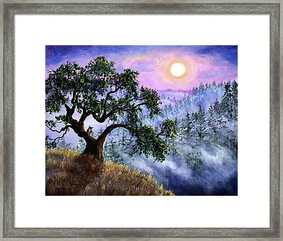 Luna In Mist And Fog Framed Print by Laura Iverson
