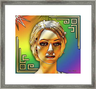 Framed Print featuring the digital art Luna Loves Deco by Chuck Staley