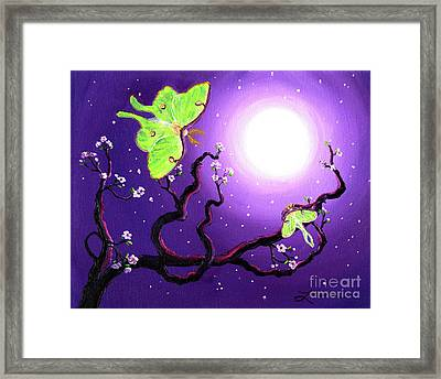 Luna Moths In Moonlight Framed Print by Laura Iverson