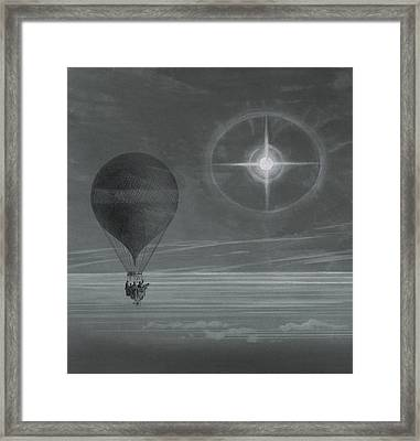 Lunar Halo And Luminescent Cross Observed During The Balloon Zenith's Long Distance Flight Framed Print by French School