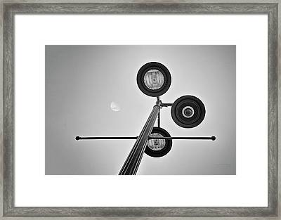 Lunar Lamp In Black And White Framed Print by Tom Mc Nemar