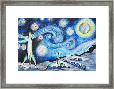 Lunar Starry Night Framed Print by Jerry Mac