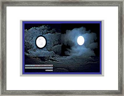 Lunatic Twin  Lune Moon And Quote By Mark Twain About Dark Side Of Our Personalities Framed Print