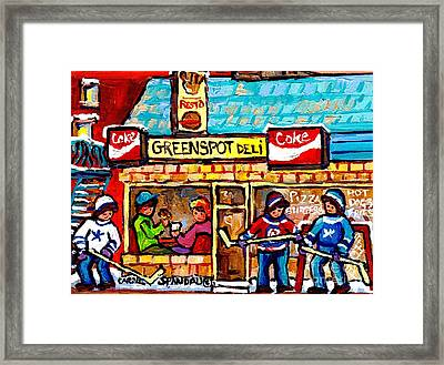 Lunch At Greenspot Deli Montreal Winter Street Hockey Game Scene Painting For Sale Carole Spandau    Framed Print by Carole Spandau