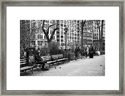 Lunch At Union Square Park Framed Print