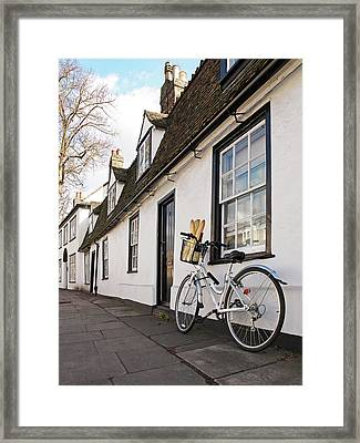 Framed Print featuring the photograph Lunch French Style By Bicycle In Cambridge by Gill Billington
