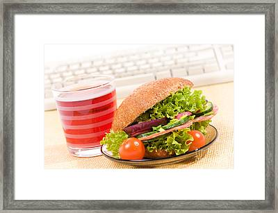Lunch Of Sandwich With Vegetables And Juice  Framed Print by Arletta Cwalina