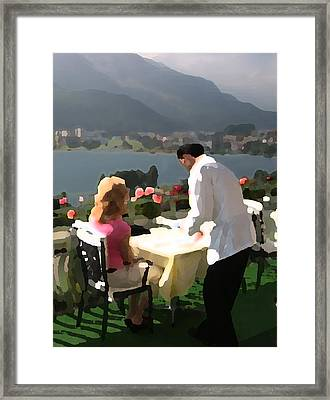 Lunch On The Terrace Framed Print by Carl Purcell