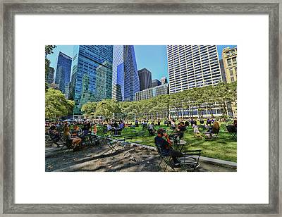 Lunchtime In Bryant Park # 2 Framed Print