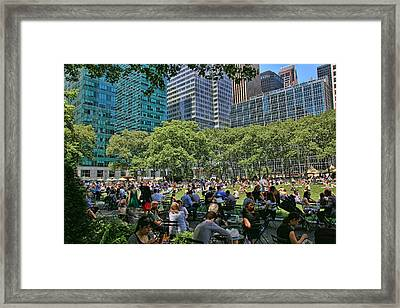 Lunchtime In Bryant Park Framed Print by Allen Beatty
