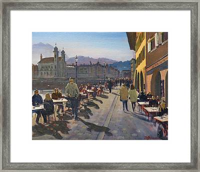 Lunchtime In Luzern Framed Print