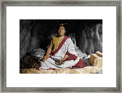 Lundup Dorje A Cave Dwelling Repa - Tibet Framed Print by Craig Lovell