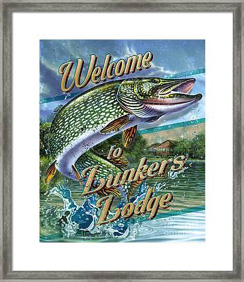 Lunkers Lodge Sign Framed Print by Jon Q Wright