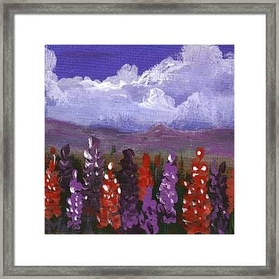 Framed Print featuring the painting Lupine Land #1 by Anastasiya Malakhova