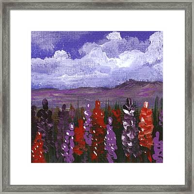 Framed Print featuring the painting Lupine Land #2 by Anastasiya Malakhova