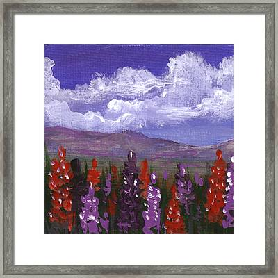 Framed Print featuring the painting Lupine Land #3 by Anastasiya Malakhova