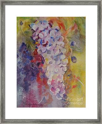 Framed Print featuring the painting Luscious Grapes by Mary Haley-Rocks