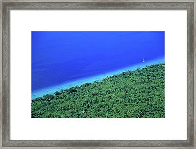 Lush Coast And Blue Waters Of The Sea Surrounding Mosso Island Framed Print by Sami Sarkis