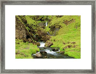 Framed Print featuring the photograph Lush Icelandic Falls by Brad Scott