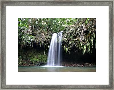 Lush Tropical Waterfall Twin Falls On Maui Hawaii Framed Print by Pierre Leclerc Photography