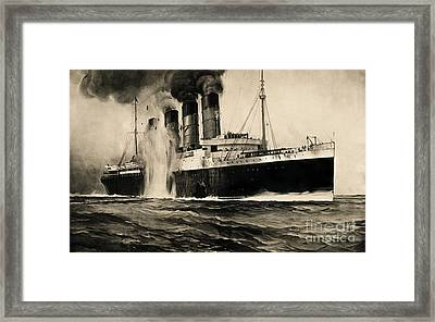 Lusitania Hit By Torpedo, 1915 Framed Print by Photo Researchers