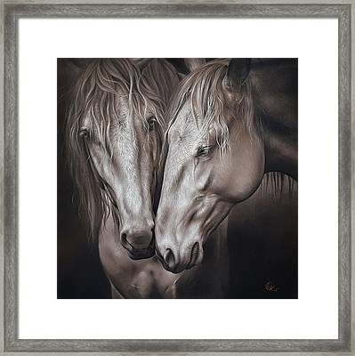 Framed Print featuring the drawing Lusitano Pair by Elena Kolotusha