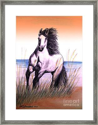 Lusitano Thunder By The Sea Framed Print