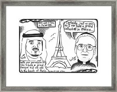 Lustiger And King Fahd In Paris Framed Print