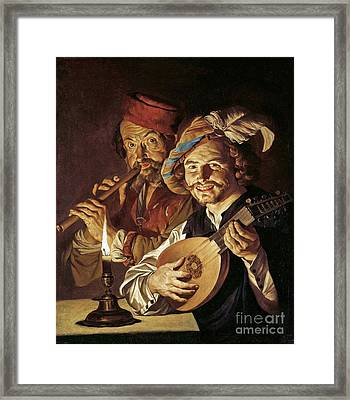Lute Player And Flutist Framed Print