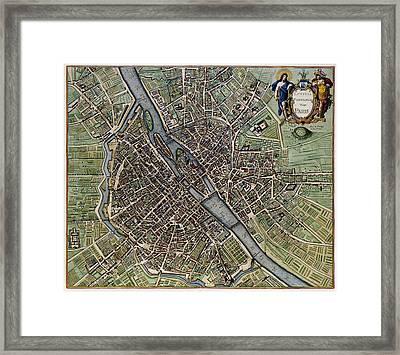 Lutetia Parisiorum Vulgo Paris - 1657 Antique Map Of Paris Joannes Janssonius Framed Print