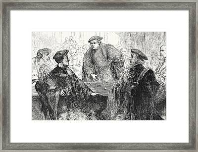 Luther And Zwingle Discussing At Marburg Framed Print