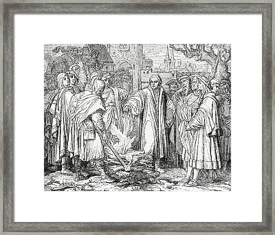 Luther Burning The Papal Bull Framed Print by English School