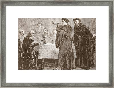 Luther Challenging Carlstadt To Write Against Him Framed Print by English School