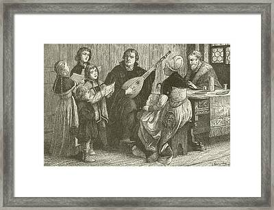 Luther In The Midst Of His Family Framed Print by American School