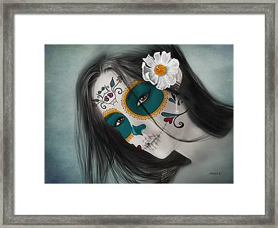 Lux Inmortal Day Of The Dead Sugar Skull  Framed Print by Maggie Terlecki
