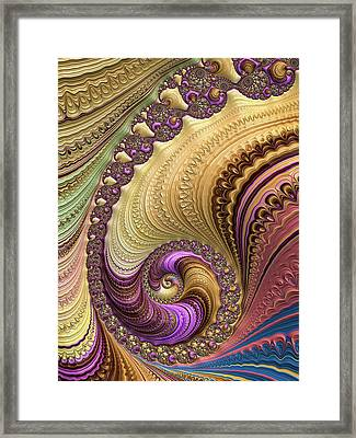 Luxe Colorful Fractal Spiral Framed Print by Matthias Hauser