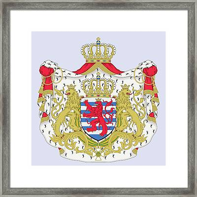 Framed Print featuring the drawing Luxembourg Coat Of Arms by Movie Poster Prints