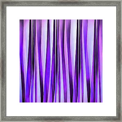 Luxurious Lilac, Purple And Silver Stripy Pattern Framed Print