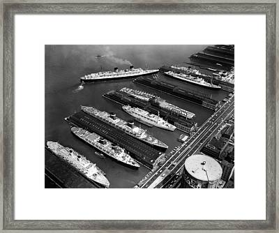 Luxury Liners Flanking An Aircraft Framed Print